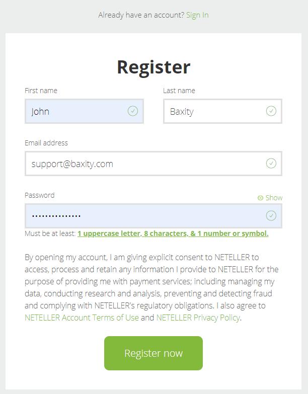 Neteller register form
