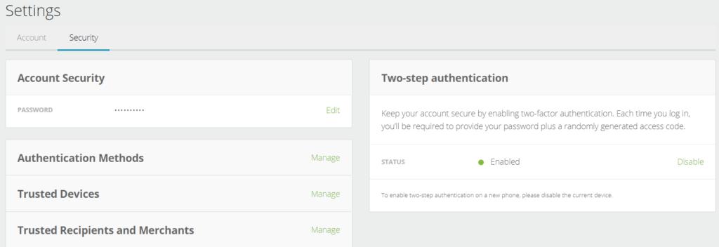 Neteller security settings