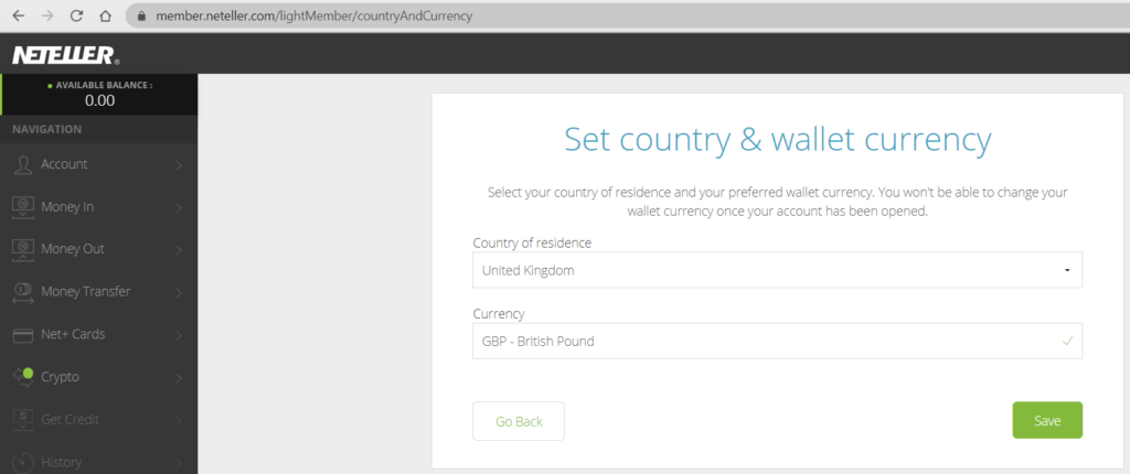 Neteller currency select