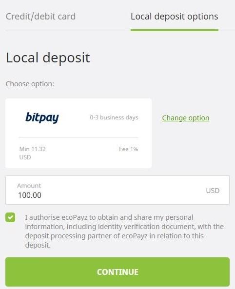 ecoPayz deposit Bicoin