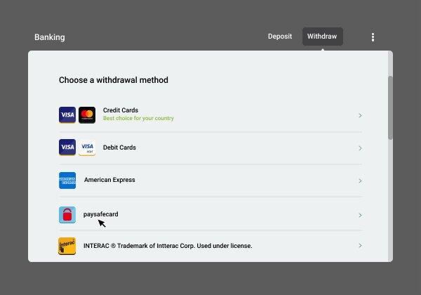 Casinos accepting PaysafeCard