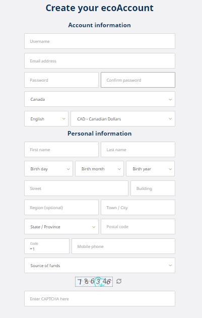 ecoPayz Canada create account1