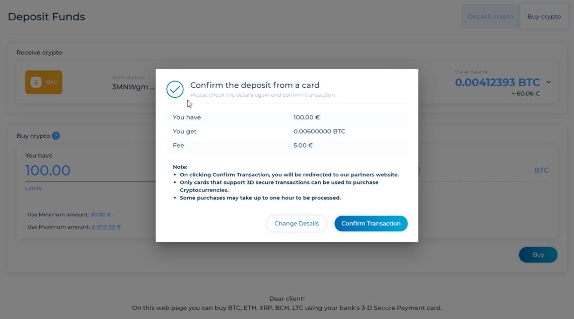 Deposit confirm Trastra