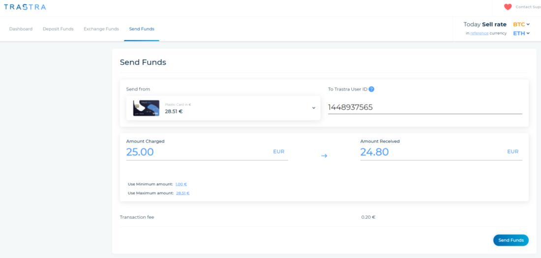 Send funds Trastra