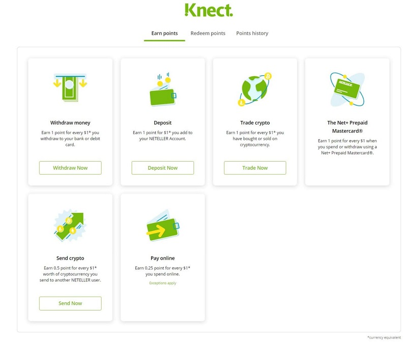 neteller knect points